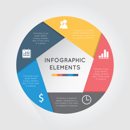 벡터 원 인포 그래픽. 도표, 그래프, 프리젠 테이션 및 차트 템플릿입니다. 5 순환 옵션, 부품, 단계 또는 프로세스와 비즈니스 개념입니다. 추상적 인