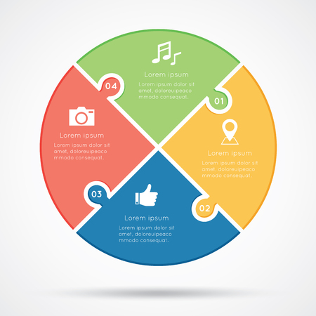 process chart: Concept of colorful puzzle on circular banners for different business design. Illustration