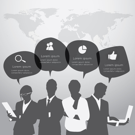 business time: Business people are standing in front of large world map with the speech bubble.