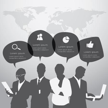 silueta hombre: La gente de negocios est� de pie delante de un gran mapa del mundo con el globo de di�logo.