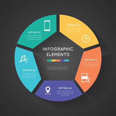 Vector cirkel infographic. Template voor het diagram, grafiek, presentatie en grafiek. Zakelijk concept met vijf opties, delen, stappen of processen. Abstracte achtergrond. Stock Illustratie