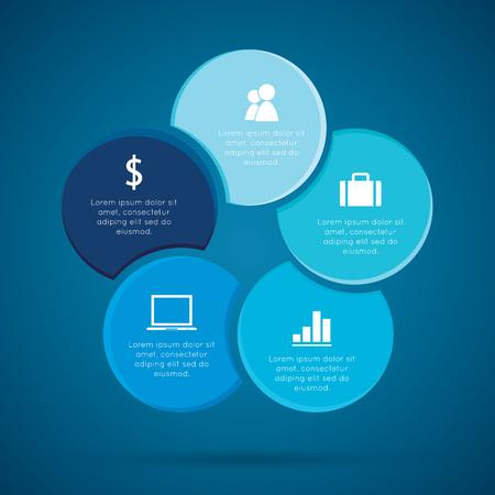 cycles: Ciclos Infografía, procesos de negocio cíclico o Diagrama de flujo de trabajo para el proyecto de éxito y otra su variante. Ilustración del vector plantilla con áreas de texto en cinco posiciones.