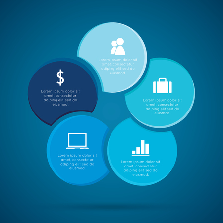 cash cycle: Cycles Infographic, Diagram cyclic business process or workflow for success project  and other Your variant. Vector illustration template with text areas on five positions.