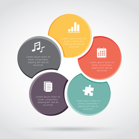 ciclos: Ciclos Infografía, procesos de negocio cíclico o Diagrama de flujo de trabajo para el proyecto de éxito y otra su variante. Ilustración del vector plantilla con áreas de texto en cinco posiciones.