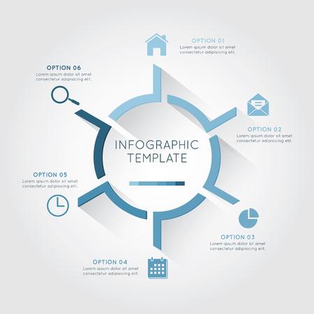 Infographic sjabloon circulaire met zes optie en plaatsing tekst op de witte achtergrond. Stock Illustratie