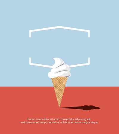 오렌지 바닥과 파란색 배경에 추상 아이스크림