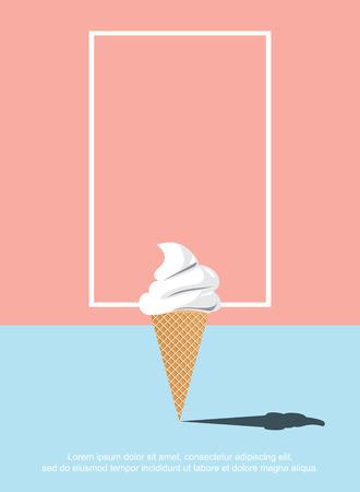 青い床とオレンジ色の背景に抽象的なアイスクリーム