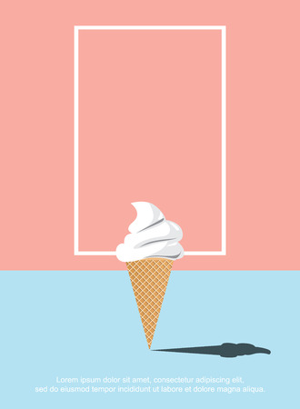 abstract ice cream on the blue floor and the orange background