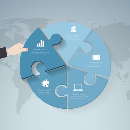 mapa de procesos: Cinco lado plantilla de presentaci�n rompecabezas infograf�a con el campo de texto explicativo para las estad�sticas empresariales