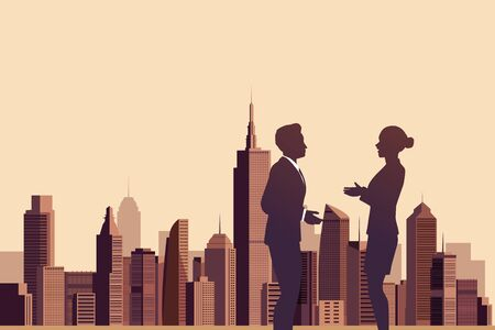 teamwork together: Illustration of business people talking with a city background