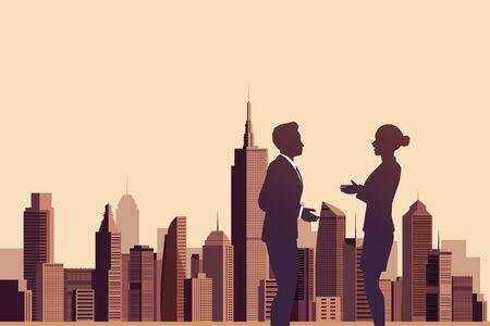 mujeres juntas: Ilustraci�n de la gente de negocios hablando con un fondo de la ciudad Vectores