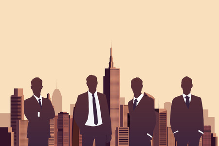 business partner: Illustration of businessman standing with a city background