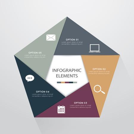 work flow: modern pentagon infographics options banner,vector illustration.  Can be used for work flow layout, diagram, number options, web design.