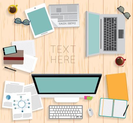 Realistische organisatie op de werkvloer. Bovenaanzicht met geweven tafel, computer, smartphone, grafisch tablet, nota document, glazen, krant, agenda en koffiemok.