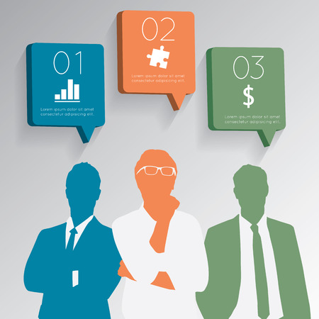 chat icons: businessman with chat icons  speech bubbles.