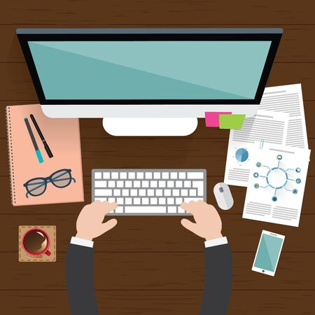typing: Realistic workplace organization. Top view with textured table, computer, smartphone, graphic tablet, note paper, glasses, diary and coffee mug. Illustration