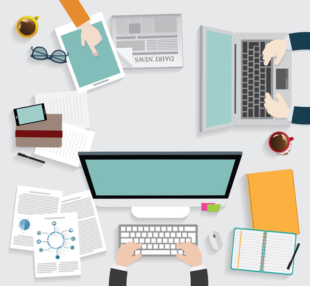 typing: Realistic workplace organization. Top view with textured table, computer, smartphone, graphic tablet, note paper, glasses, newspaper, diary and coffee mug.
