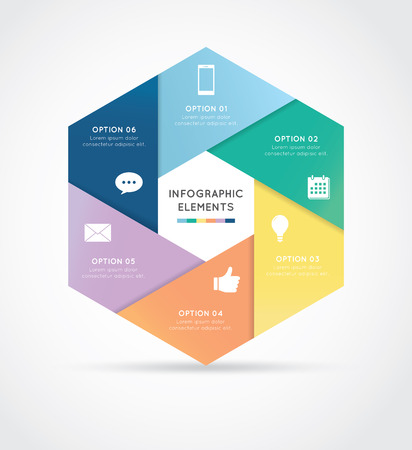 business education: Modern hexagon infographics 6 options banner, vector illustration. Can be used for workflow layout, diagram, number options, web design. Illustration