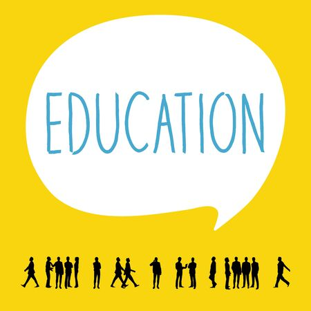 bubble speech: Silhouette people of Education concept. Illustration