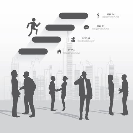 speech bubble: Modern infographic for business project with silhouette people.