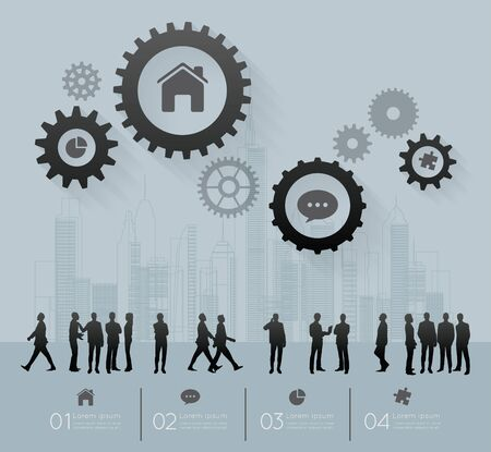 consult: Modern infographic for business project with silhouette people.