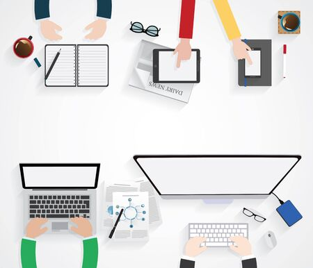 businees: Table, Working, Businees, Meeting, High Angle View