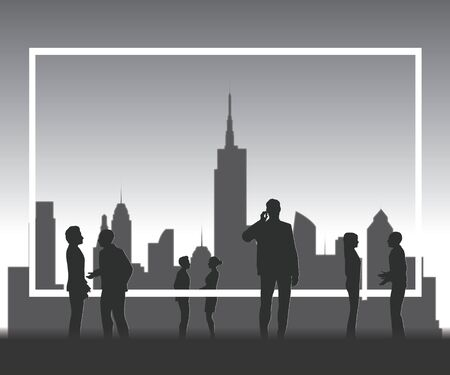 copyspace: Silhouette people with copyspace frame. Illustration