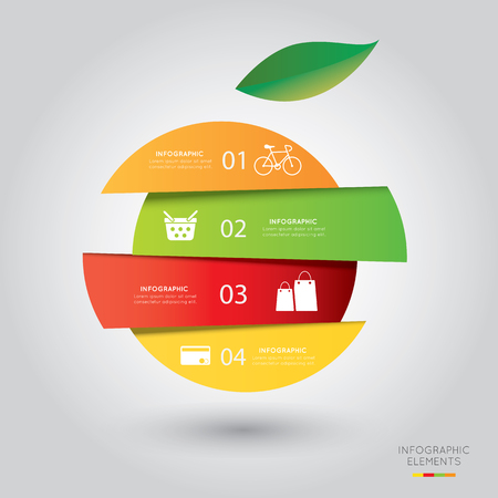 fruits basket: Modern infographic for shopping project