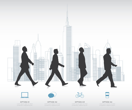 successful businessman: Modern infographic for business project with silhouette people.