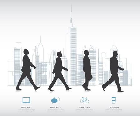 Modern infographic voor business project met silhouet mensen.