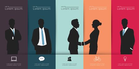 business project: Modern infographic for business project with silhouette people.