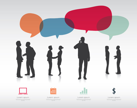 silhouette sign: Modern infographic for business project with silhouette people.