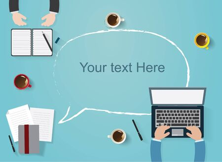 infomation: Vector flat workplace of designer with devices illustration