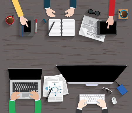 테이블, 작업,의 businees, 회의, 높은 각도보기 일러스트