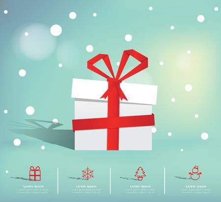 christmas gift box: Christmas Infographic Illustration