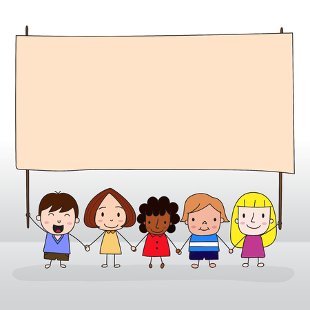 asian ethnicity: Children holding board