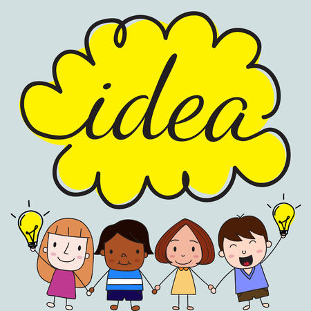 mixed race girl: Children with idea concept