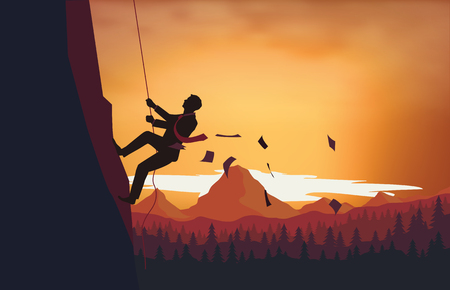 climbing ladder: A man climbing the ladder of success Illustration