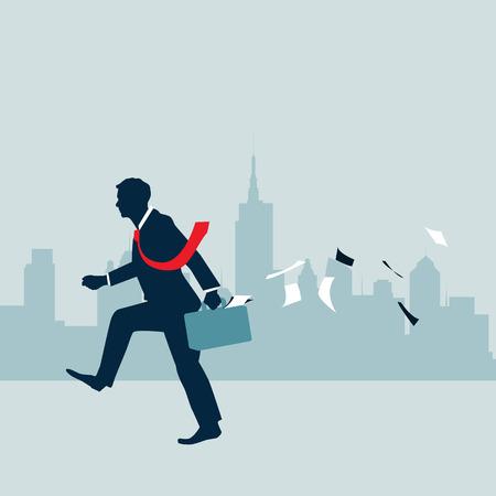 businessman walking: Businessman walking with  city background Illustration