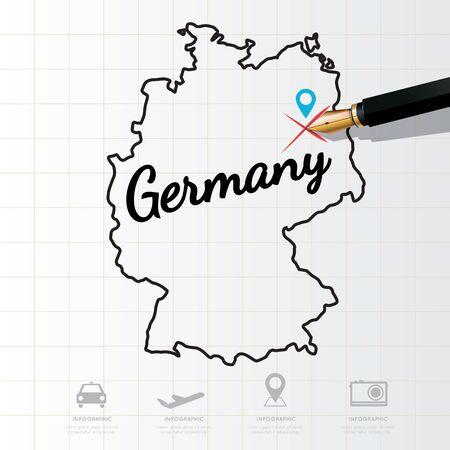 deutschland karte: Deutschland-Karte Infografik Illustration