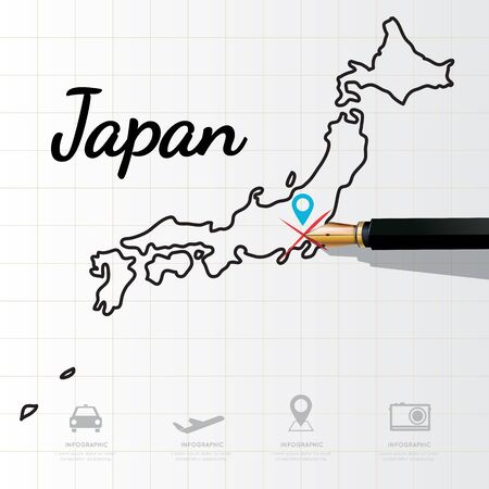 physical geography: Japan map Infographic Illustration