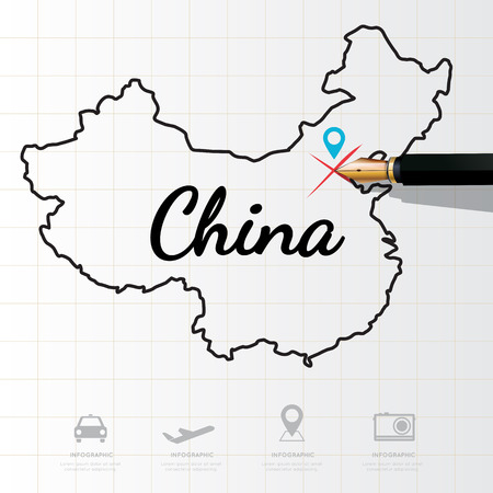 physical geography: China map Infographic Illustration