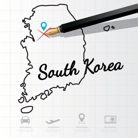 Südkorea Karte Infografik