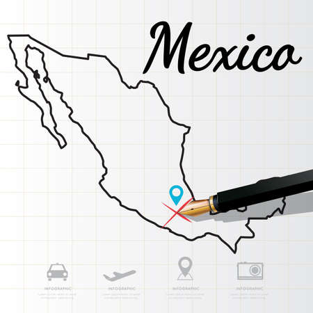 physical geography: Mexico map Infographic