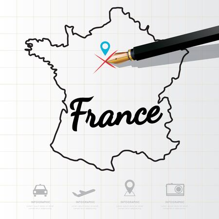 physical geography: France map Infographic Illustration