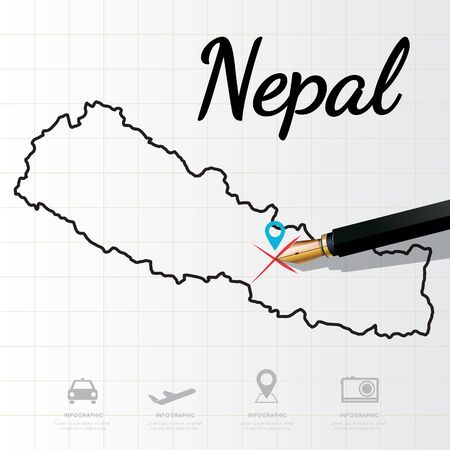 physical geography: Nepal map Infographic Illustration