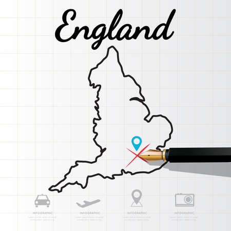 england map: England map Infographic Illustration
