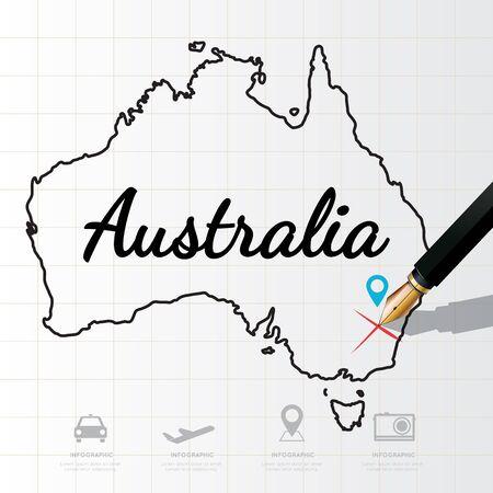 Australie carte Infographic