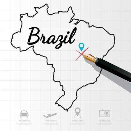 physical geography: Brazil map Infographic