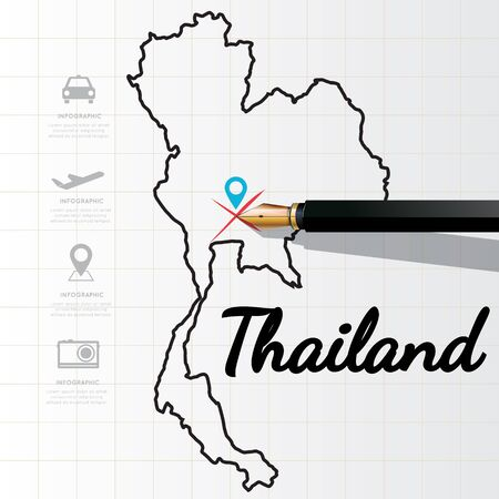 physical geography: Thailand map Infographic Illustration